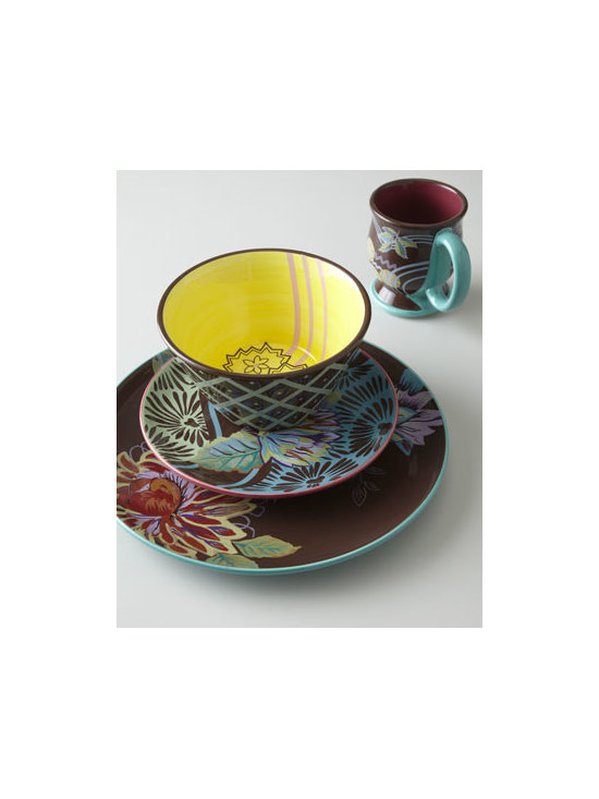 "Horchow - 16-Piece ""Vivre"" Dinnerware Service - Exclusively ours. A joyous celebration of natural forms in sizzling colors. From Tracy Porter. Fuchsia/chocolate/teal/yellow/green/purple floral and diamond-pattern stoneware. 16-piece set includes four four-piece place settings. Handcrafted. Mi..."