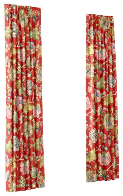Red & Aqua Watercolor Floral Custom Euro Pleat Drape Single Panel ...