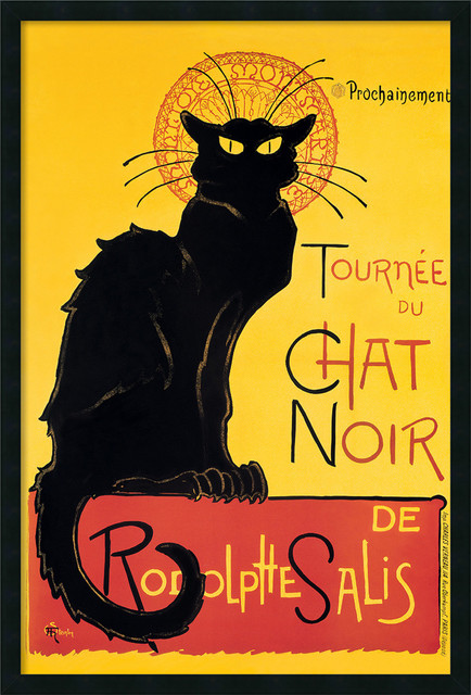 Tournee du Chat Noir (Yellow) Framed with Gel Coated Finish traditional-prints-and-posters
