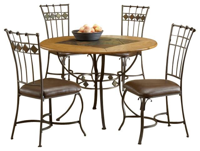 hillsdale lakeview 5 piece round dining room set w slate side chairs