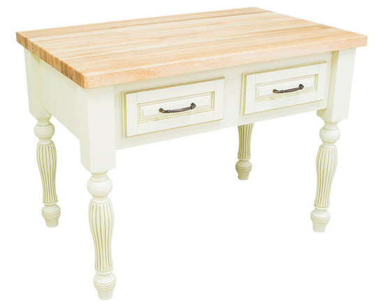 """Inviting Home - Kitchen Island (antique white) - kitchen island in antique white finish; 45-15/16""""W x 28-1/16""""D x 34-1/4""""H; 1-3/4"""" hard maple butcher block top (03) sold separately; Kitchen island in antique white finish. Kitchen island features soft-close under-mount slides on drawers soft-close European hinges and fully adjustable shelves. 1-3/4"""" hard maple butcher block top (03) sold separately."""