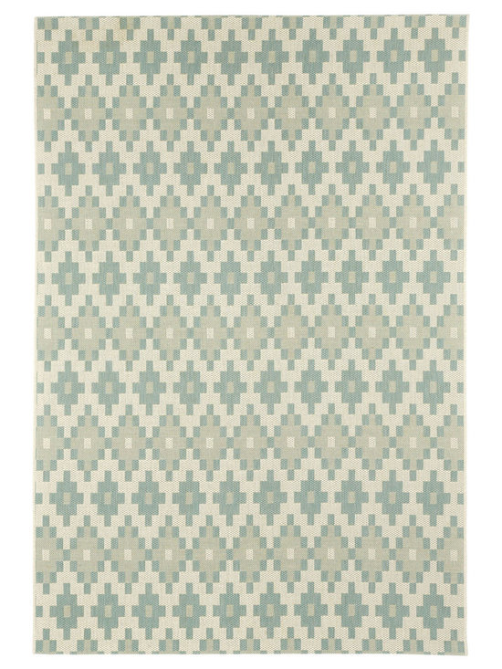 """Finesse Pueblo rug in Spa - An esteemed """"Capel Anywhere"""" rug collection woven on precision machine looms in Europe. These versatile rugs can be used in high traffic areas indoors - like kitchens and sunrooms - or to dress up covered porches and decks outside."""