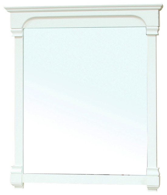 42 Inch Solid Wood Frame Mirror Cream White Modern Bathroom Mirrors By