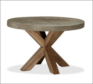 Abbott Faux Concrete Top Round Fixed Dining Table Modern Outdoor Dining T