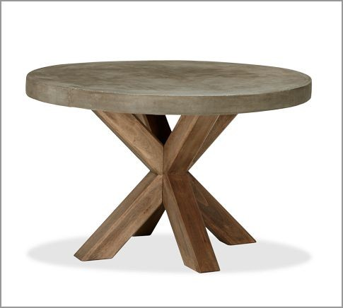 Abbott Faux-Concrete Top Round Fixed Dining Table modern outdoor tables
