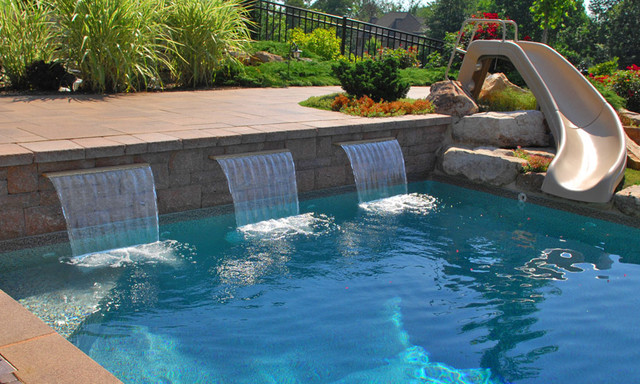 Pool scapes and standard sheeting waterfalls hot tub and for Garden pool equipment
