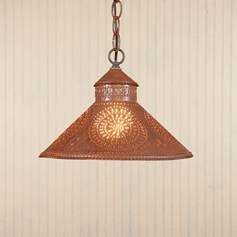 rustic tin pendant shade light