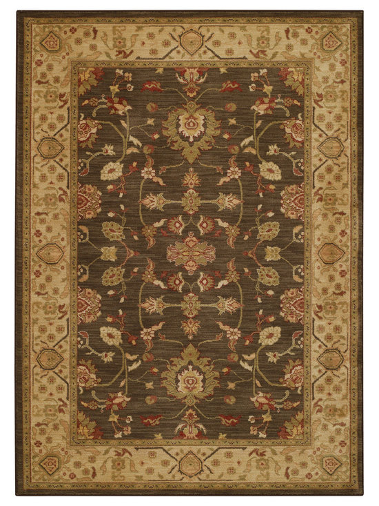 Honour Emblem rug in Cocoa Gold - The Honour Collection boasts space dyed yarns in a cross woven construction for a unique old world feel.