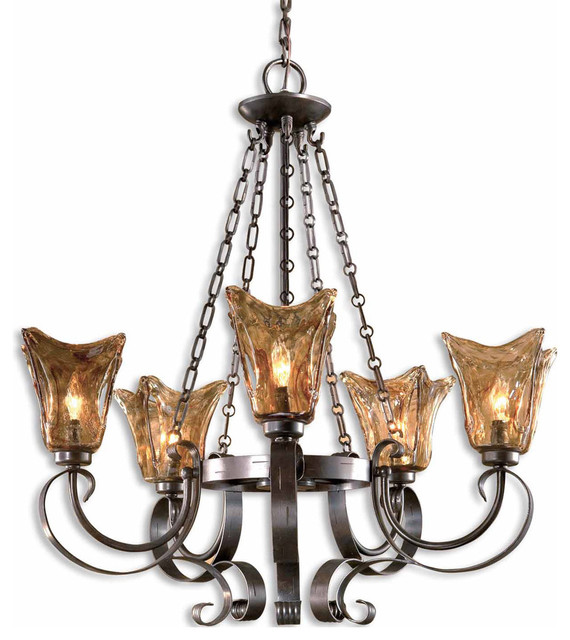 Vetraio 5-Light Chandelier by Uttermost with Oil Rubbed Bronze Finish - 21007 traditional-chandeliers