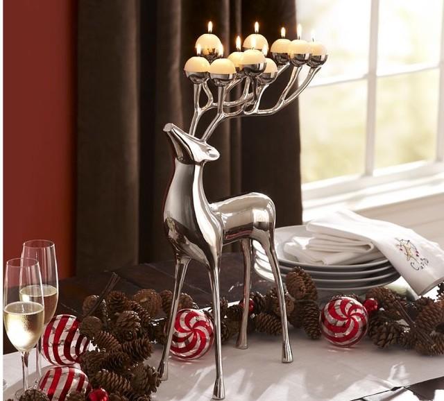 Silver-Plated Reindeer Candelabra modern-candleholders