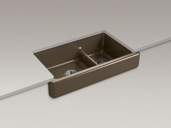 "KOHLER Whitehaven(R)Self-Trimming(R) Smart Divide(R) 35-1/2"" x 21-9/16"" x 9-5/8"" contemporary-kitchen-sinks"