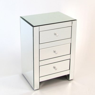 Wayborn Omega 3 Drawer Mirrored Nightstand