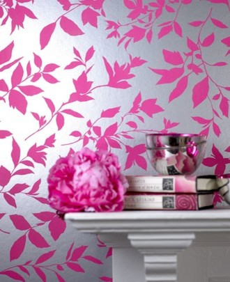 Midsummer Pink Floral Wallpaper eclectic wallpaper