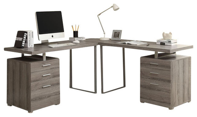 Dark Taupe Reclaimed Look 3 Piece Desk Set Contemporary