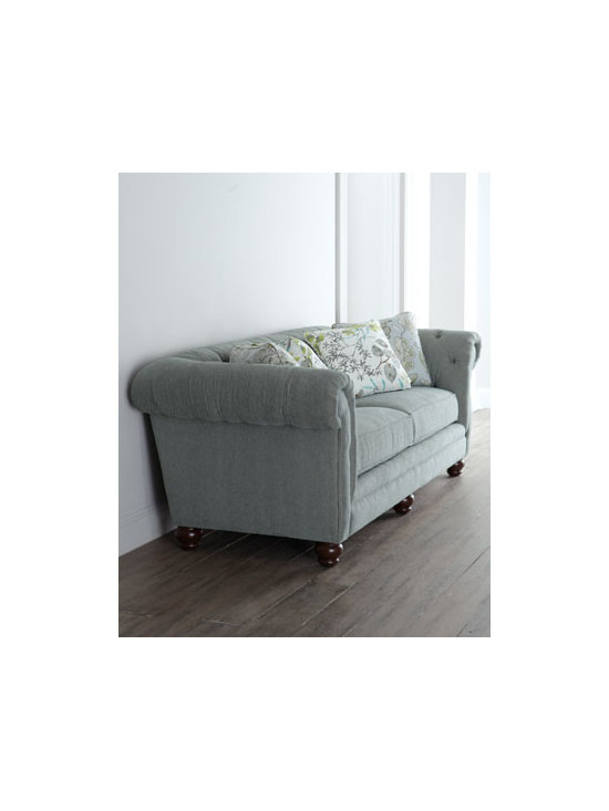 Horchow - Bucareli Sofa - Traditional rolled-arm sofa with tufting on the inner arms and back gets an update with soft color and decorative pillows covered in floral and foliage motifs rendered in misty watercolor hues. Frame made of select hardwoods. Polyester/rayon upholstery. Seat cushions encased in down-proof ticking