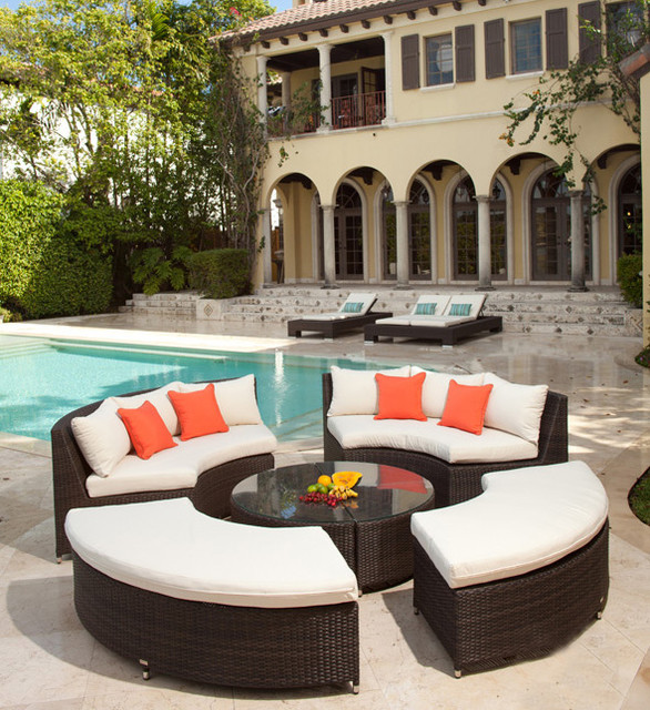 Modern Circular Wicker Sectional for the Patio - contemporary ... - Outdoor Sectional Patio Furniture