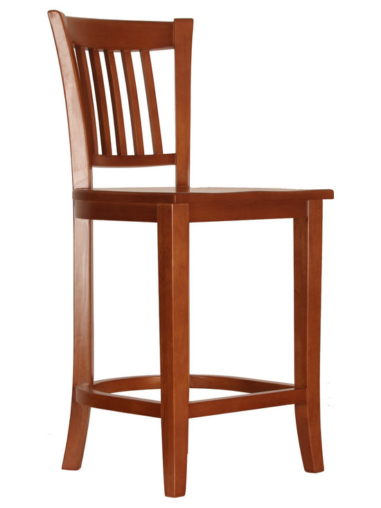 "Bar Stool with Back, 27"" High - This bar stool fits with a standard 36"" counter top. It is hand made from solid wood. No screws are used in its' assembly. It is available in eight standard stains and seven species of wood."