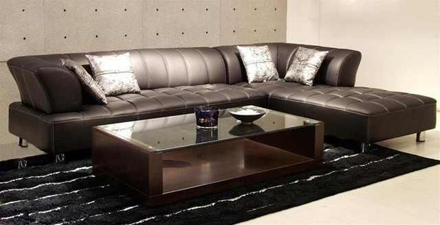 Vernon - Modern Brown Leather Sectional - modern - sectional sofas