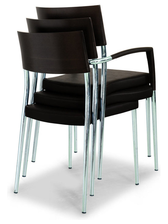 Airon Armchair - Contemporary contract-grade armchair with chrome frame and leather upholstered seat.