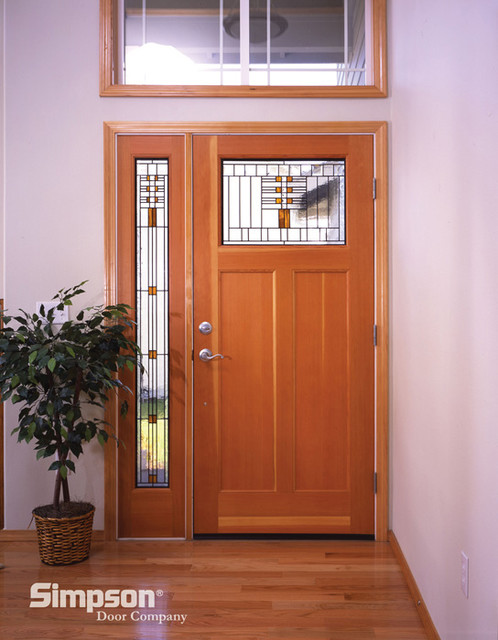 Wood Front Door With Sidelight And Decorative Glass Craftsman Front Doors