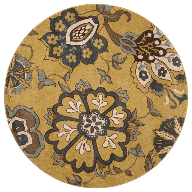 Surya monterey moss green floral round area rug for Area rugs round contemporary