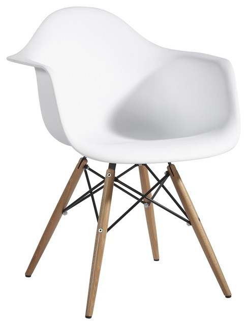 Plastic Arm Chair In White With Wooden Base Midcentury