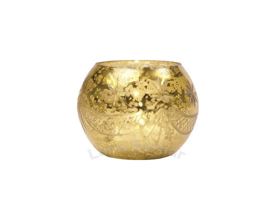 Gold Mercury Glass Votive Candleholder -