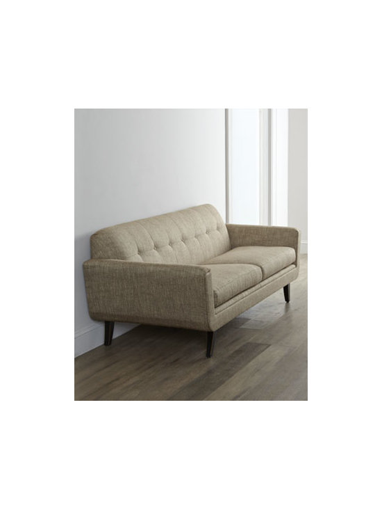 """Massoud - Massoud """"Hilton"""" Sofa - With its clean lines and neutral hue, this button-tufted sofa works well in any setting. Hardwood frame with Chateau finish has mortise-and-tenon construction. Polyester/acrylic upholstery; suspended coil spring system. 85""""W x 35""""D x 32""""T. Seat, 18""""..."""