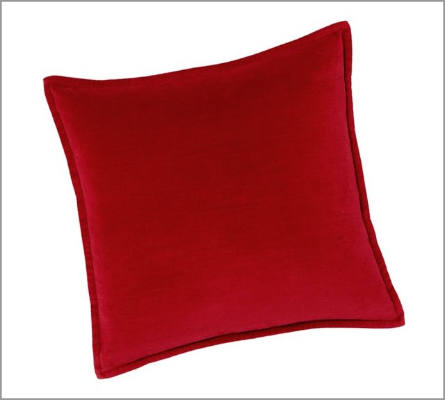 Washed Velvet Pillow Cover, Cherry Red - Contemporary - Decorative Pillows - by Pottery Barn