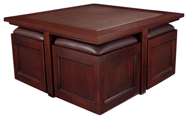 Kanson Square Cocktail Table With Storage Cubes In Oxblood Finish Coffee Tables By Modern