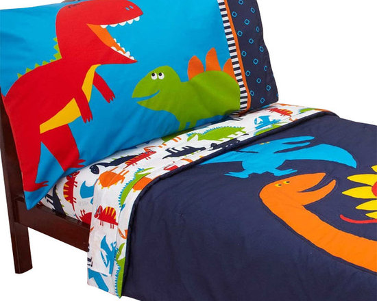 Crown Crafts Infant Products - Dinosaurs Toddler Bed Set Carters Prehistoric Pals Bedding - FEATURES:
