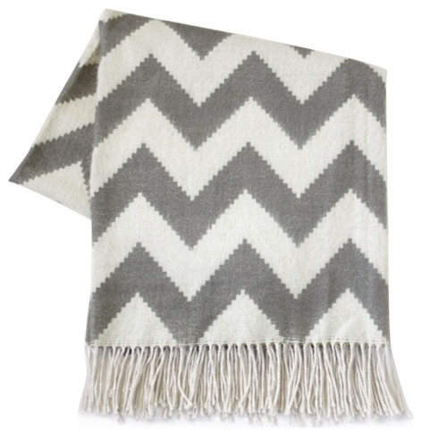 Throw Blanket Zig Zag Grey by Jonathan Adler modern-throws