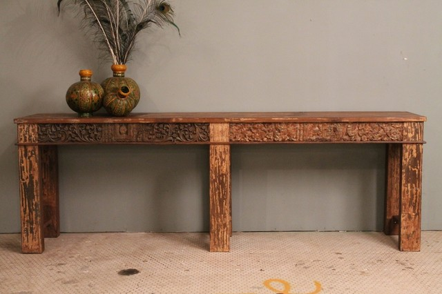 Distressed Rustic Reclaimed Indian Carved Wood Console