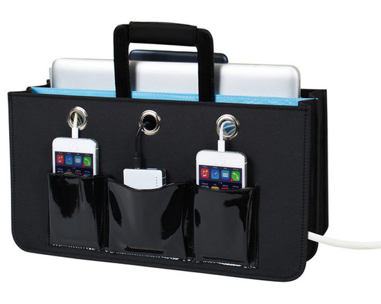 """Great Useful Stuff - Portable Tech Station - City Pop - Keep all of your electronic devices protected, organized, and charged! This portable tech charging station will accommodate a tablet, a laptop (up to 15""""), a power strip and up to 3 cell phones in the front pockets.. All cords can be snaked through strategically placed grommeted holes and the large back pocket can be used to hide excess cords. Can be placed on the floor next to your sofa, on a table or bedside or anywhere you use your tech devices. The Portable Tech Station includes a middle handle, allowing you to get up and go with all your tech devices in tow."""