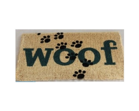 "Coir Woof! Doormat - Homescapes have now come out with a lovely collection of doormats. The collection is made keeping in mind a variety of tastes and preferences. There's a mat for everyone with themes like, Dog/Cat/ Horse lovers, ""Love Hearts"", ""Just Married"", union Jack, stripes, various ""welcome"" designs, Hello, goodbye and novelty mats."