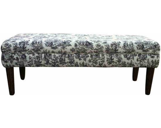 Toile Bench - Vintage bench, covered in tufted black and white toile.