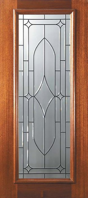Slab entry single door 80 mahogany bourbon full lite glass for Exterior door slab