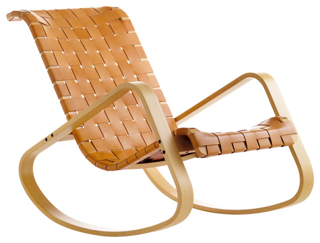Rocking chair natural leather with natural stain contemporary rocking