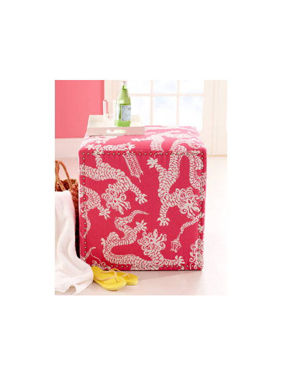 "Lilly Pulitzer - Lilly Pulitzer ""Candice"" Ottoman - Cavorting Chinese dragons add a touch of whimsy to this charming ottoman. Covered in Lilly Pulitzer fabric by Lee Jofa. Frame made of furniture-grade hardwoods. Linen upholstery. 25""Sq. x 25""T. Handcrafted in the USA. Boxed weight, approximately...."