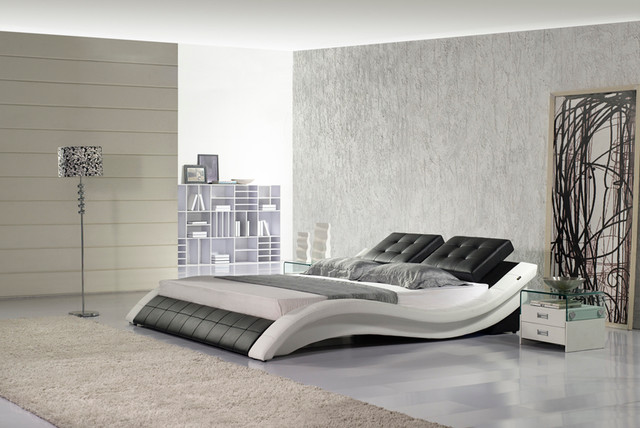 Leather bed italian leather hx a021 bw contemporary for Modern furniture miami