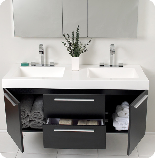 Black Double Sink Bathroom Vanities