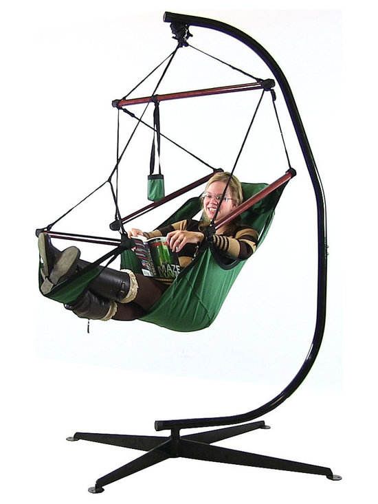 Sunnydaze Decor - Sunnydaze Hanging Hammock Chair W/ Pillow, Drink Holder & Stand Combo, Green - Features of the Hanging Hammock Chair: