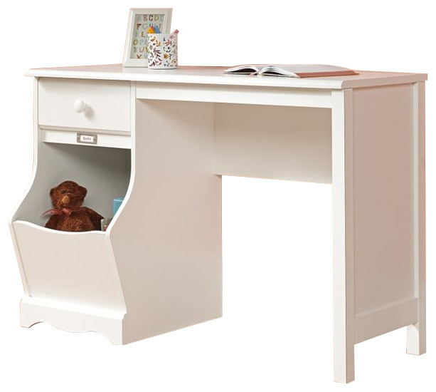 Sauder Pogo Desk In Soft White Finish Transitional