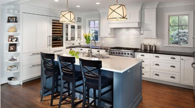White Painted Kitchen with blue island - Traditional ...