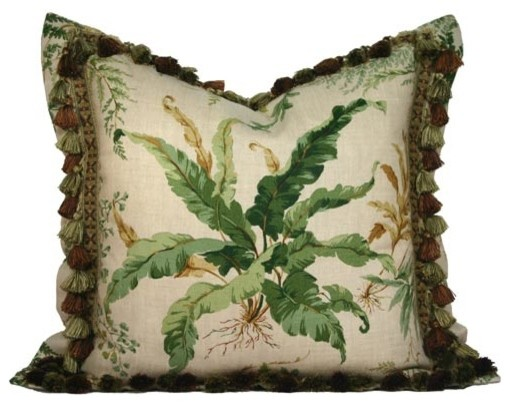 Ferns on Sand Linen Pillow with Tassel Fringe and Flange modern-bed-pillows