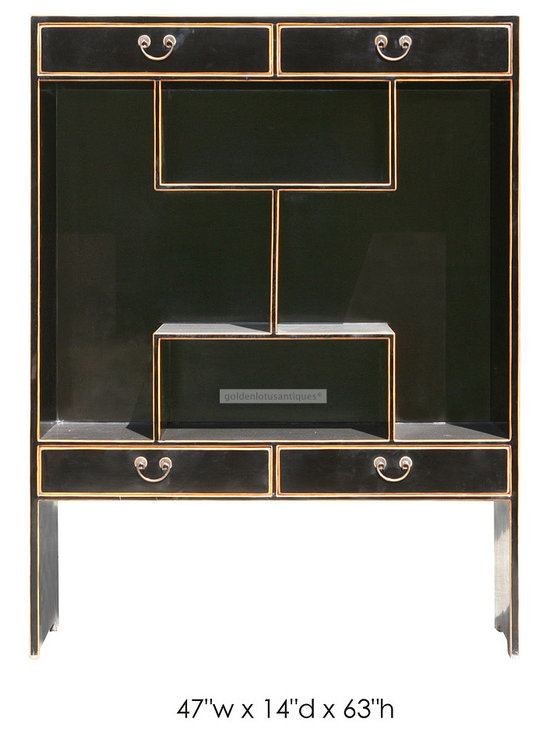 Multi Level Black Lacquer Display Cabinet -