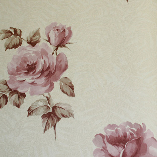 Astek The Gardens of Amsterdam Dusty Pink Roses on Cream Wallpaper contemporary-wallpaper