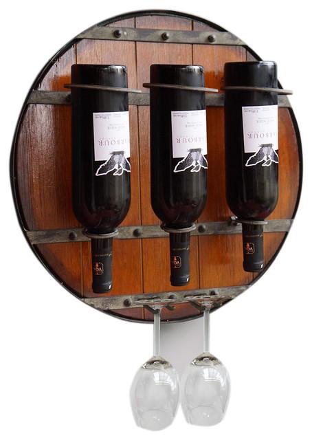 Round Wall Metal/Wood Wine Rack & Glass Holder - Contemporary - Wine Racks - by Welland ...