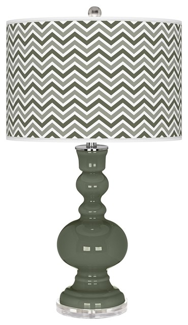 Contemporary Deep Lichen Green Narrow Zig Zag Apothecary Table Lamp contemporary-table-lamps