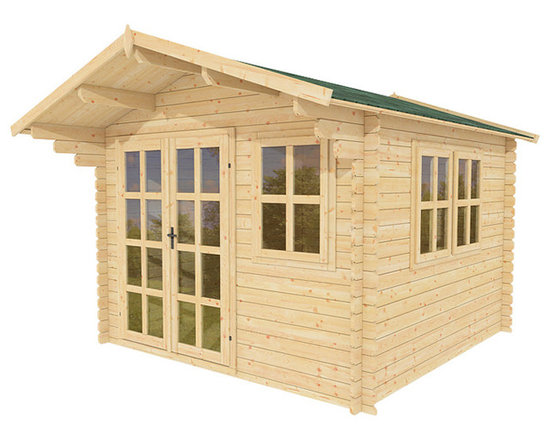 Daisy 10 x 10 Wood Shed / Pool House - ECO Garden Sheds. All natural wood 10 x 10 Tropical pool house/ wood shed -- Daisy. Front view B.